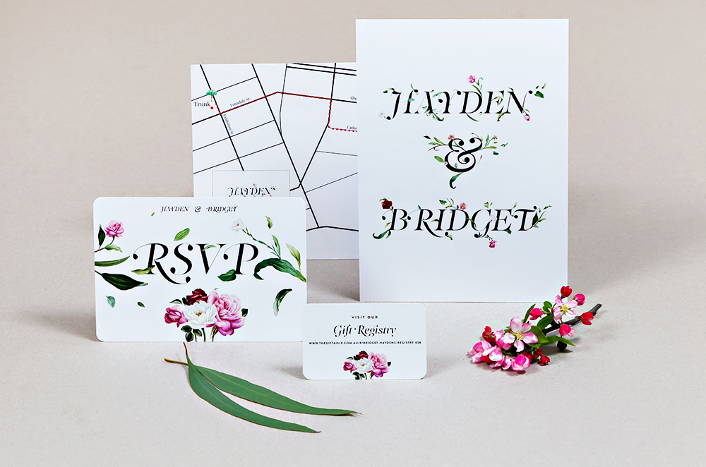 Wedding stationery set (1 x A5 & 4 x A6)
